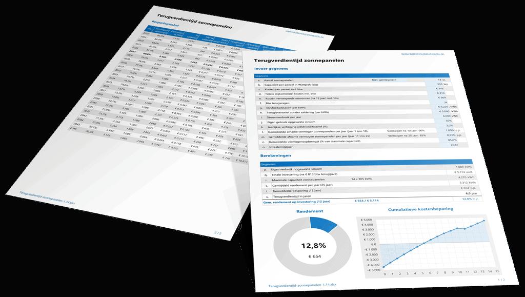 Terugverdientijd zonnepanelen berekenen met Excel