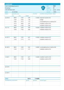 Weekstaat in Excel - ontwerp 1 - variant 1