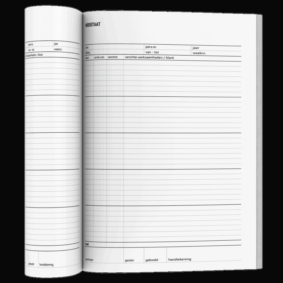 Blanco weekstaat in Excel