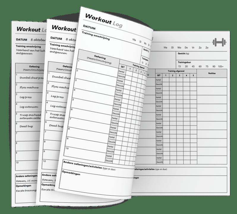 Workout log dagboek in excel